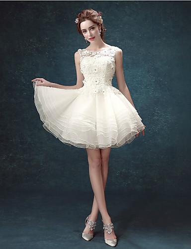 Suknia ślubna a-line biała sukienka krótka / mini koronka z koralikami z nakładkami okrągłymi