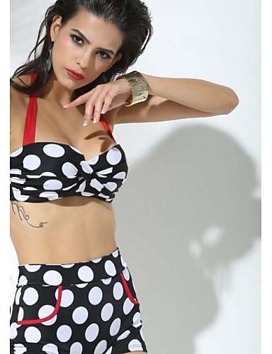 Damen Punkt / Hochgeschnitten Bikinis Halter / Bügel-BH / Polsterloser BH