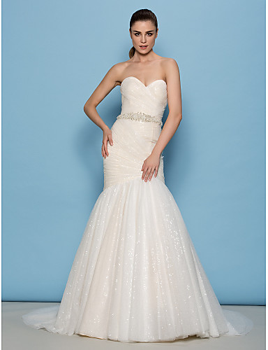 Lanting Bride Lanting Fit & Flare Wedding Dress - Ivory Sweep/Brush ...