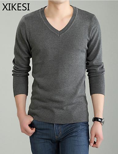 Herren Standard Pullover-Lässig/Alltäglich Arbeit Übergröße Solide Langarm Baumwolle