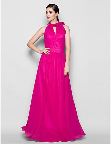 Sheath / Column High Neck Floor Length Chiffon Bridesmaid Dress with Bow(s) by LAN TING BRIDE®