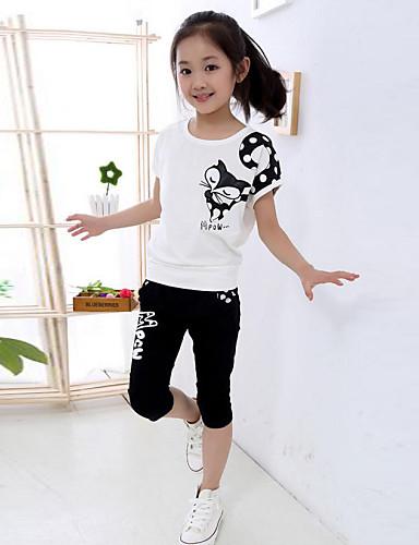 Genç Kız Pamuklu Polyester Bahar Yaz Sonbahar Kısa Kollu Kıyafet Seti Karikatür Beyaz Sarı Fuşya