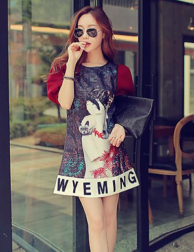 Kadın's Karpuz Kol A Şekilli Elbise - Desen Diz üstü / Sonbahar