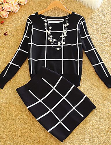 Kadın Normal Elbise Kareli,Çok-renkli Uzun Kollu Yuvarlak Yaka Pamuklu Kış Kalın Mikro-Esnek