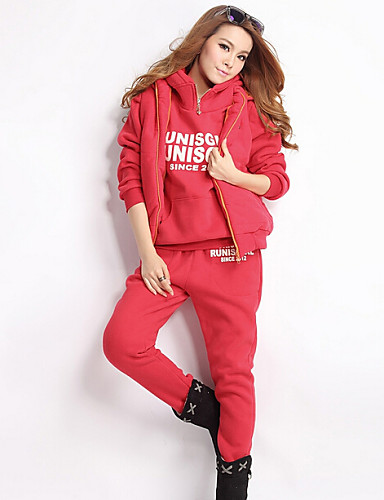 Women's Daily Casual Activewear Set Letter Inelastic Long Sleeve Winter
