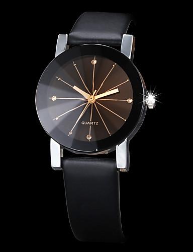 billige Trendy klokker-Par Armbåndsur Quartz Quiltet kunstlær Svart Kreativ Imitasjon Diamant Analog Mote - Svart Ett år Batteri Levetid / SSUO 377