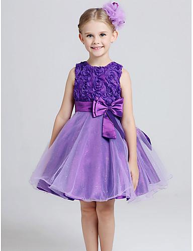 Πριγκίπισσα Μέχρι το γόνατο Φόρεμα για Κοριτσάκι Λουλουδιών - Βαμβάκι / Τούλι Αμάνικο Με Κόσμημα με