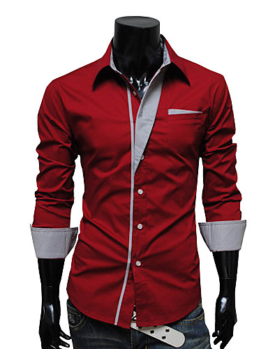 593e48bc731d Men's Causal Work Business Shirt - Solid Colored White / Long Sleeve