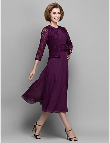 A-vonalú Ékszer Tea-hossz Sifon Csipke Örömanya ruha - Csipke Ráncolt által LAN TING BRIDE®