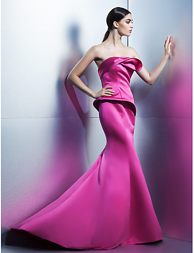 Mermaid / Trumpet Strapless Sweep / Brush Train Satin Formal Evening Dress with Flower(s) by TS Couture®