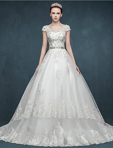 Suknia balowa v-neck court pociąg tulle suknia ślubna z brokatem appliques sash / wstążka