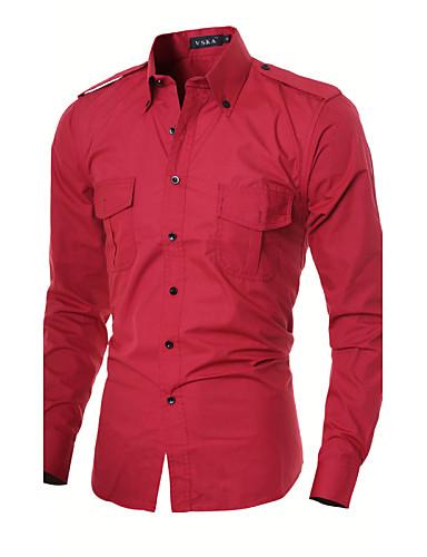 Herre - Farveblok Skjorte Bomuld