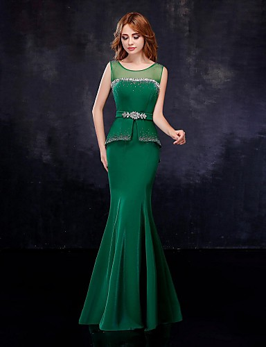 Mermaid / Trumpet Illusion Neckline Floor Length Chiffon Tulle Formal Evening Dress with Crystal Detailing Sash / Ribbon by Embroidered