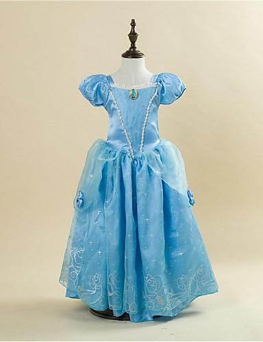 С пышной юбкой В пол Детское праздничное платье - Сатин Тафта С короткими рукавами Квадратный вырез с от