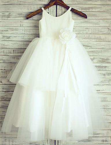 Πριγκίπισσα Μακρύ Φόρεμα για Κοριτσάκι Λουλουδιών - Βαμβάκι Τούλι Αμάνικο με Λουλούδι(α) με LAN TING BRIDE®