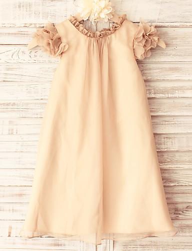 Ίσια Γραμμή Μέχρι το γόνατο Φόρεμα για Κοριτσάκι Λουλουδιών - Σιφόν Κοντομάνικο με Πλισέ με LAN TING BRIDE®