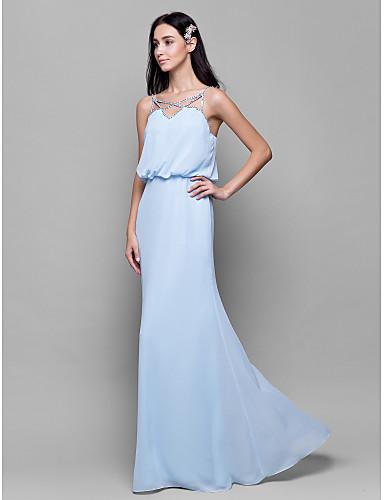 Sheath / Column Spaghetti Strap Floor Length Chiffon Bridesmaid Dress with Beading / Pleats by LAN TING BRIDE®