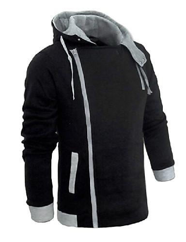 Ανδρικά Μεγάλα Μεγέθη Μακρυμάνικο hoodie σακάκι - Μονόχρωμο