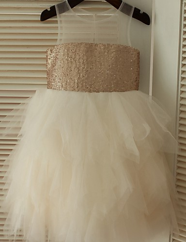 Βραδινή τουαλέτα Μέχρι το γόνατο Φόρεμα για Κοριτσάκι Λουλουδιών - Τούλι Με πούλιες Αμάνικο με Πούλιες με LAN TING BRIDE®