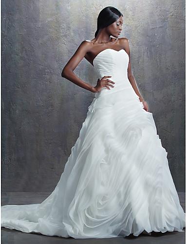 Lanting Bride® Krój A / Balowa Drobna Suknia ślubna Retro Tren kapliczny W kształcie serca Organza z