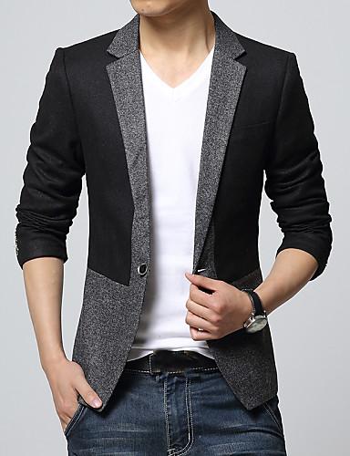 Blazer Homme,Couleur Pleine Travail Décontracté / Quotidien Manches longues Normal Coton
