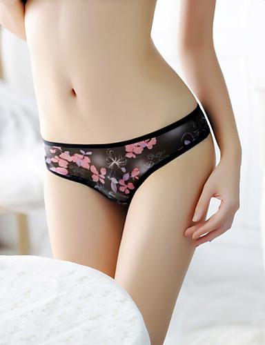 Mulheres Sem Costura Ultra Sexy Tapa Sexo Tanga & Fio Dental - Com Transparência Estampado, Floral Cintura Média