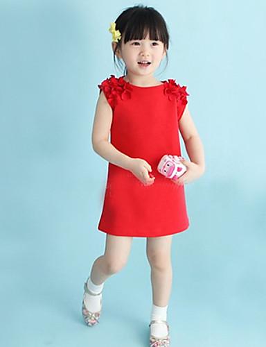 Kız Polyester Çiçekli Yaz Kolsuz Elbise Çiçek Kırmzı Pembe