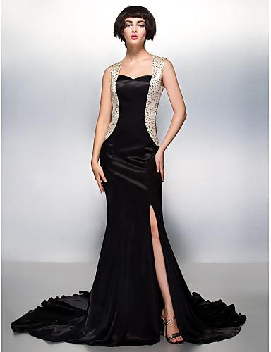Τρομπέτα / Γοργόνα Καρδιά Ουρά μέτριου μήκους Σαρμέζ Επίσημο Βραδινό Φόρεμα με Χάντρες με TS Couture®