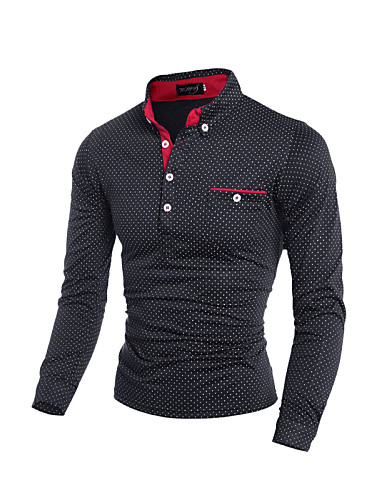 Men's Daily / Sports / Going out Casual / Active / Street chic Cotton / Polyester / Spandex T-shirt - Polka Dot / Color Block Patchwork /