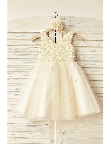 Γραμμή Α Μέχρι το γόνατο Φόρεμα για Κοριτσάκι Λουλουδιών - Σατέν Τούλι Αμάνικο Λαιμόκοψη V με Χάντρες με LAN TING Express