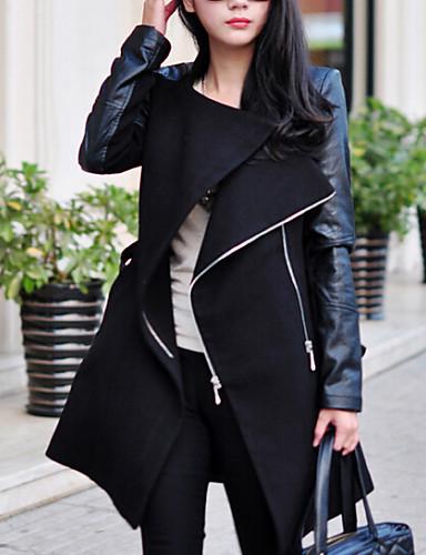 Kadın's Klasik, Yünlü PU V Yaka Zıt Renkli Günlük / Sade Dışarı Çıkma Ceketler