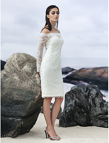 Sheath / Column Off Shoulder Knee Length Lace Made-To-Measure Wedding Dresses with Lace by LAN TING BRIDE® / Illusion Sleeve / Little White Dress / See-Through