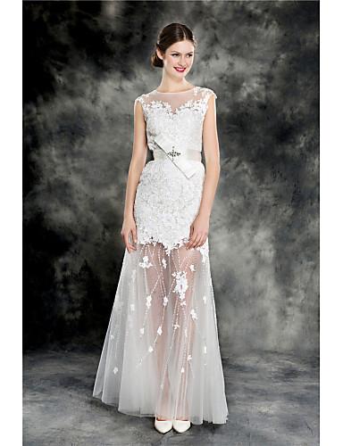 087a1aed9 Vestido de Noiva - Marfim Justo Transparente Cauda Escova Renda Tule ...