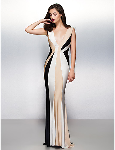 Mermaid / Trumpet V Neck Sweep / Brush Train Jersey Formal Evening Dress with Pleats by TS Couture®