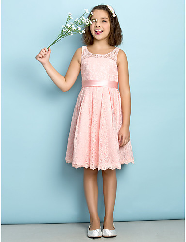 a3654567a A-Line Scoop Neck Knee Length All Over Floral Lace Junior Bridesmaid Dress  with Lace by LAN TING BRIDE® / Natural / Mini Me 2994176 2019 – $59.99