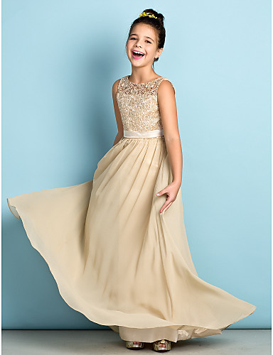 bb9aad39f A-Line Scoop Neck Floor Length Chiffon / Lace Junior Bridesmaid Dress with  Lace by LAN TING BRIDE® / Natural / Mini Me