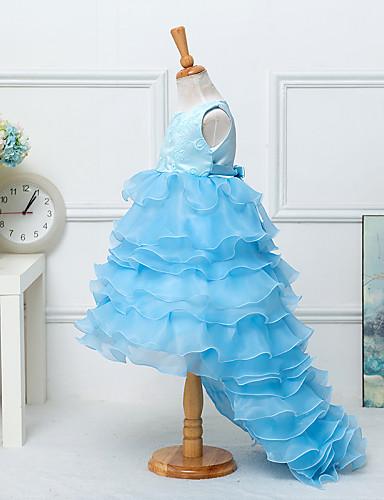 Kız Solid Pamuk Karışımı Yaz / Bahar / Sonbahar Mavi / Mor / Beyaz Elbise