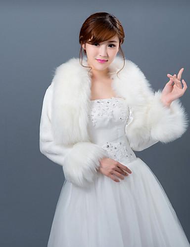 Uzun Kollu Suni Kürk Düğün Kürk Wraplar Düğün sarar Kabanlar / Ceketler