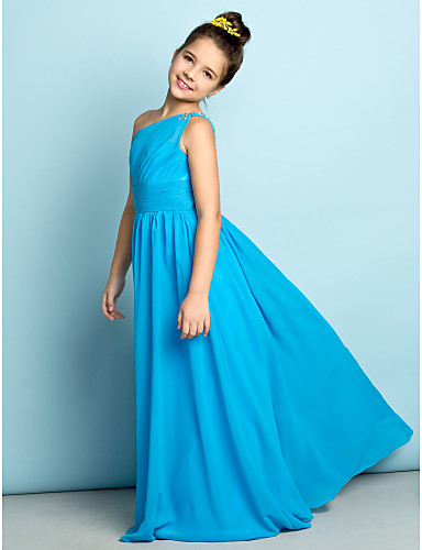 A-Line One Shoulder Floor Length Chiffon Junior Bridesmaid Dress with Crystals / Side Draping by LAN TING BRIDE® / Natural / Mini Me