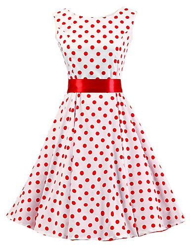 Women's Vintage Cotton A Line Dress - Polka Dot Pleated