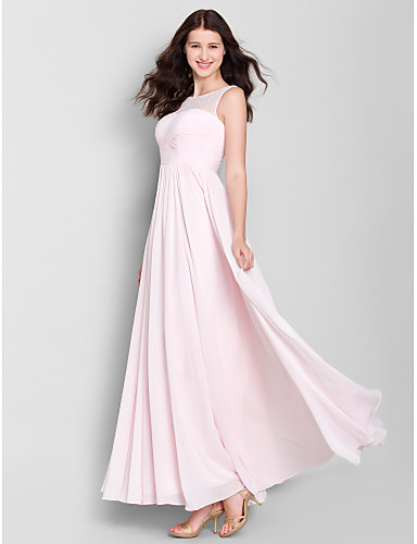 A-Line Scoop Neck Ankle Length Chiffon Bridesmaid Dress with Lace / Criss Cross by LAN TING BRIDE® / See Through