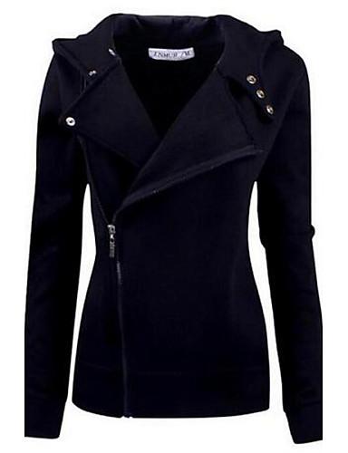 Kadın's hoodie Ceket - Solid Pamuklu
