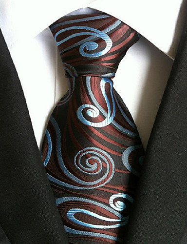 Men's Polyester Necktie,Vintage Cute Party Work Casual All Seasons Coffee