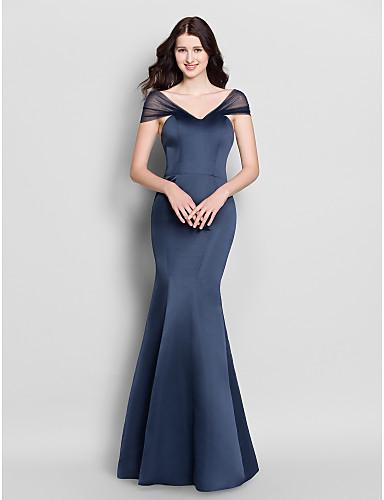 Τρομπέτα / Γοργόνα Λαιμόκοψη V Μακρύ Σατέν Φόρεμα Παρανύμφων με Πλισέ με LAN TING BRIDE®