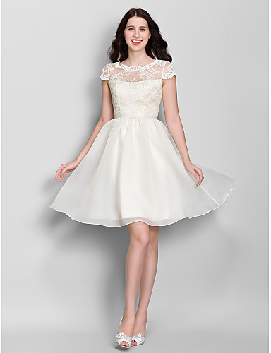 A-Line Scoop Neck Knee Length Lace / Organza Bridesmaid Dress with Lace by LAN TING BRIDE® / See Through