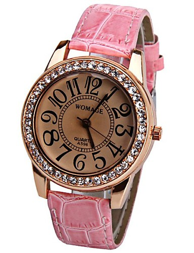 Womage 596 Quartz Watch Time Showed By 12 Arabic Numbers Leather Watch Band for Women Cool Watches Unique Watches Fashion Watch Strap Watch