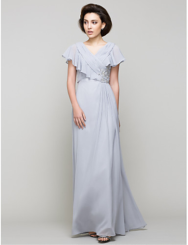 A-Line V Neck Floor Length Chiffon Mother of the Bride Dress 617 Crystal Detailing Criss Cross by LAN TING BRIDE®