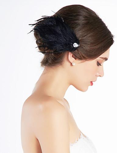 billige Hatte & Imponeringer-nydelig fjær bryllup brude corsage headpiece svart