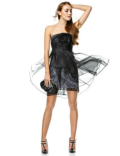 A-Linie Trägerlos Kurz / Mini Organza Cocktailparty / Abschlussball / Abiball / Firmenfeier Kleid mit Blume Seitlich drapiert durch TS