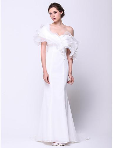 Trompetă / Sirenă Pe Umăr Trenă Court Organza Bal / Seară Formală Rochie cu Voaluri Cascadă de TS Couture®
